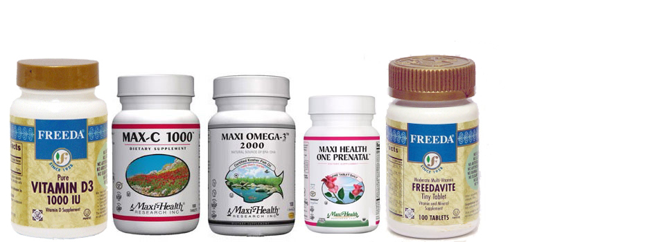 Freeda Kosher Vitamins, Maxi Health Products are kosher certified vitamins